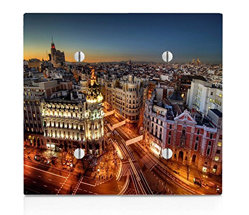 Popular Madrid at Night Print Double Blank Electrical Switch Plate by LE Prints