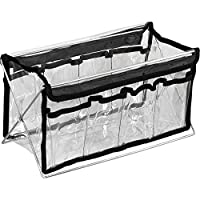 HIKER Makeup Caddy Clear Travel Organizer HK1401, 8 Pockets and Foldable, Chrome Metal Stand
