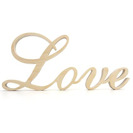 wooden letterslove unfinished wood word