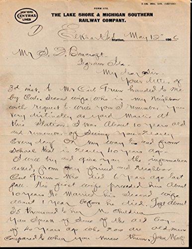 Lake Shore & Michigan Southern Railway letter 1906 W H Ziesel-S D Bancroft