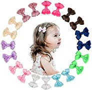 Shemay 10 Pairs 2 inches Tiny Boutique Grosgrain Ribbon Hair Bow Alligator Clips Barrettes for Baby Girls Todd