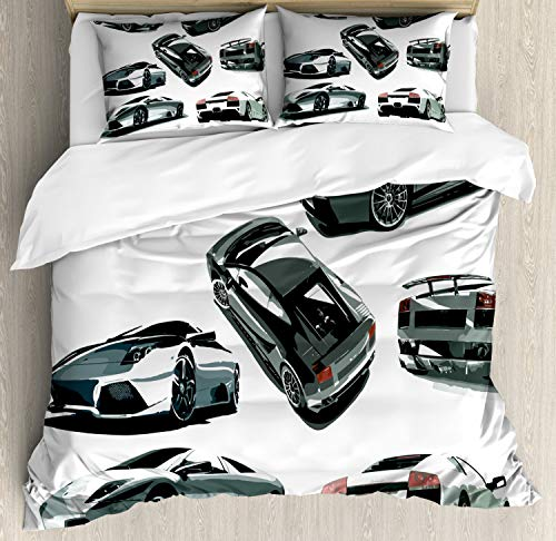 Ambesonne Modern Duvet Cover Set, Grey Cars from Various Angles Automobile Industry Theme Vehicle, Decorative 3 Piece Bedding Set with 2 Pillow Shams, Queen Size, Green White