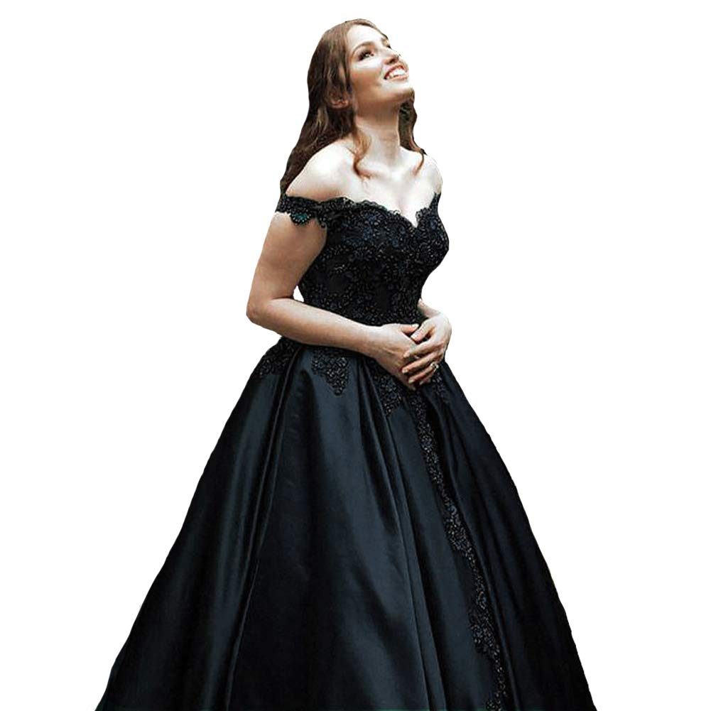 Dark Navy Kivary Off The Shoulder V Neck Beaded Lace Long Ball Gown Prom Evening Dresses