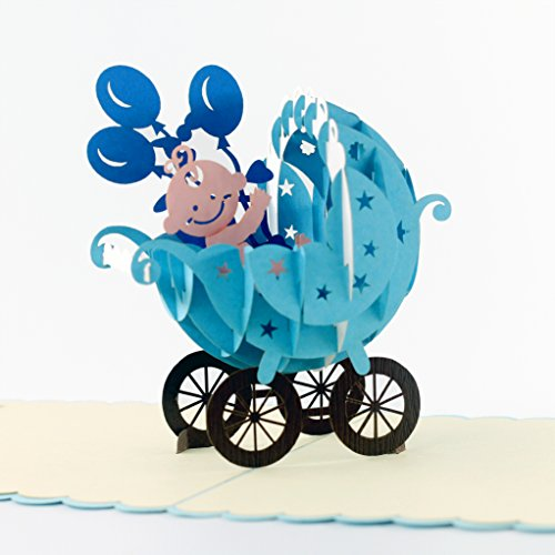CutePopup Baby Stroller Happy Birthday Card for Boys- Celebrate Birth of Boy, Baby Showers, Birthdays, Congratulations, Baby Gift - Strollers (Blue).