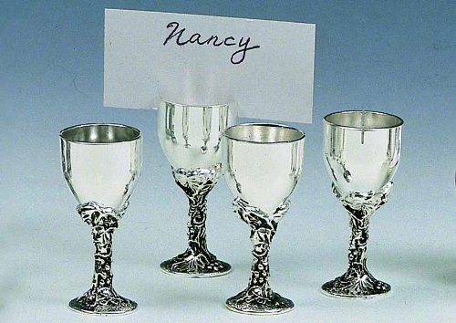 Goblet Place Card Holders - Silver Wine Goblet Place Card Holder 4 piece set