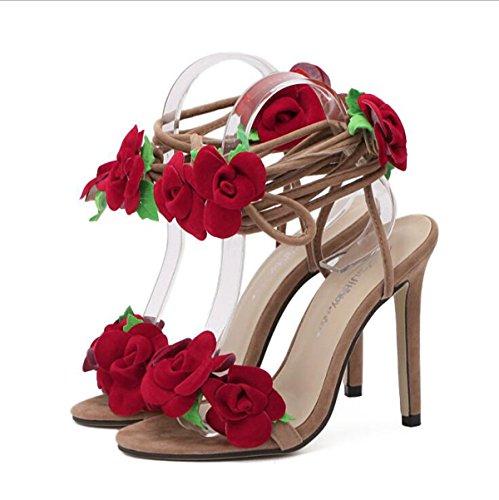 Femenina Tacón Tiras de Moda Sandalias Elegantes Europa 11cm Zapatos Cruzadas de Flores de América Apricot y Alto 6UFXSH
