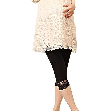 7ffd2c3c6e1d8 Liang Rou Maternity Ultra Thin Stretch Cropped Leggings Lace Trim Black:  Amazon.co.uk: Clothing