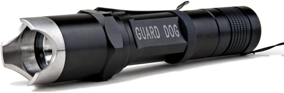 Rechargeable LED Flashlight with Charger Steel Bezel 260 Lumen Waterproof Tactical Flashlight Guard Dog Security Edge