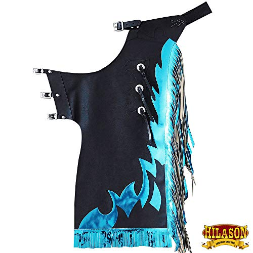 (HILASON Bull Riding Smooth Genuine Leather Rodeo Western Chaps Black Blue)