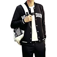 TaLs9yLI Coat Jacket for Men Men Casual Letter Print Striped Baseball Jacket Snap Buttons Long Sleeve Coat