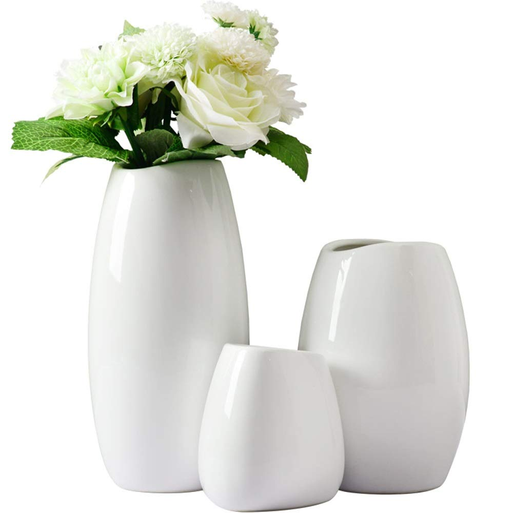 3ピースセラミック花瓶用花緑植物結婚式植木鉢装飾ホームオフィスデスク花瓶花バスケットフロア花瓶 B07RL6Z4WJ