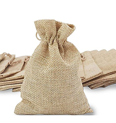 Mini Gift Bag - 50Pcs Burlap Bags, Mini Gift Bag Jewelry Pouches Packing Storage Candy Bags Favor Jute Sacks for Wedding Party Birthday Shower Jewelery DIY Craft with Drawstring, 5.0 x 4.0 inch