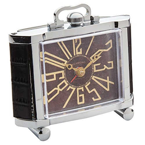 "Universal Lighting and Decor Richmond 4 1/2"" High Nickel Plate Art Deco Alarm Clock"