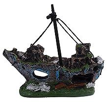 Aquarium Resin Ornament Wreck Sailing Fishing Boat Sunk Ship Fish Tank Decoration