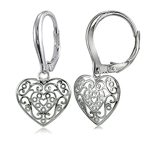 Sterling Silver High Polished Filigree Heart Dangle Leverback Earrings