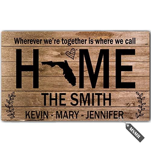MsMr Personalized [Your Name] Door Mat Indoor Outdoor Custom Doormat Decorative Home Office Welcome Mat Home Love Florida Door Mat 30