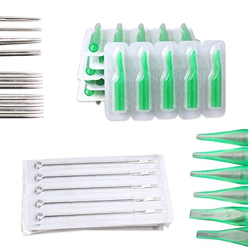 50PCS Mix Size Sterile Disposable Tattoo Needles Round Liner,Shader Magnum ,50PCS Tattoo Nozzle Tips,Tattoo supplies