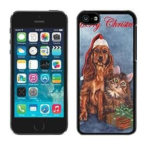Customized Design Iphone 5C TPU Case Christmas Dog and Cat Black iPhone 5C Case 3