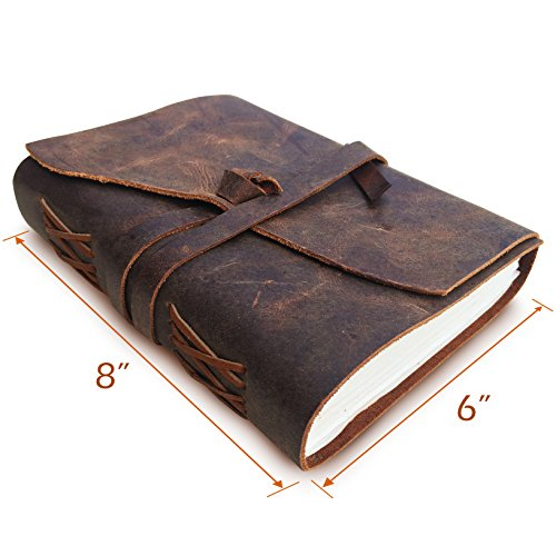 Leather Journal Travel Diary Handmade Notebook, Antique Leather Bound Notebooks For Men & Women, Large 8 x 6 Inches Unlined Paper, Ideal Gift for Poetry Writing, Sketchbook & Daily Notepad to Write in