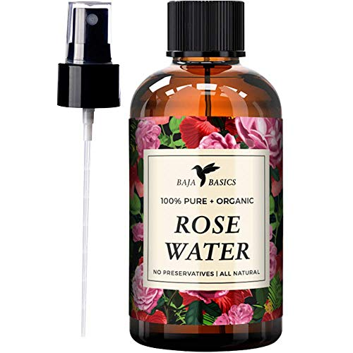 Rose Water 100% Pure Toner and Spray by Baja Basics For Skin, Hair and Aromatherapy Large 4oz ()