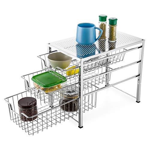 Bextsware Cabinet Basket Organizer with 3 Tier Wire Grid Sliding Drawer, Multi-Function Stackable Mesh Storage Organizer for Kitchen Counter, Desktop, Under Sink(Silver)