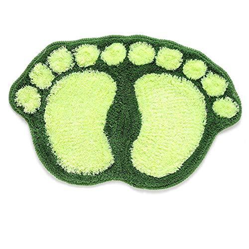 (Cute Footprints Big Feet Bath Mats Pads Cartoon Style Anti-Slip Floor Rug Bath Mat Soft Baby Playing Carpets for Living Room,Green)