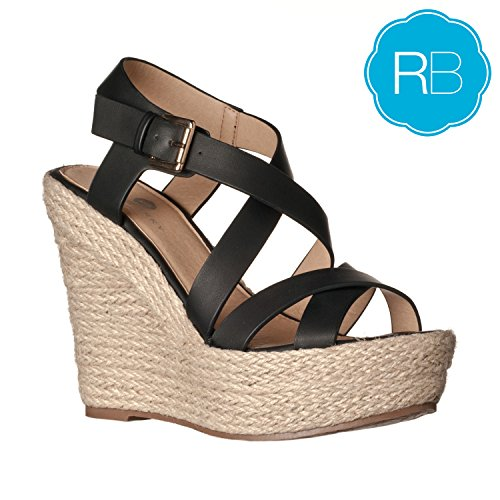 Riverberry Women's Sara Faux Leather Sandal Wedges, Black PU, 7