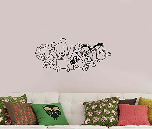 Winnie The Pooh and Friends Wall Decal Disney Piglet Tigger Eeyore Vinyl Sticker Cartoon Characters Art Animal Decorations for Home Baby Kids Room Bedroom Animal Decor Ideas - Mirror Pooh