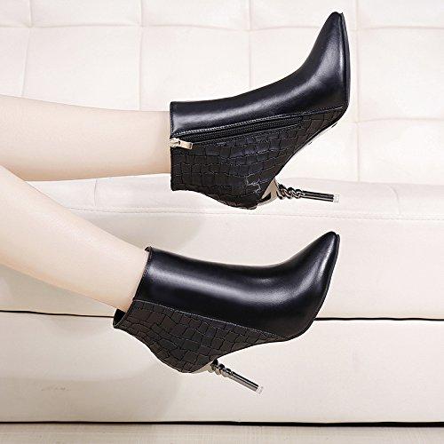 KHSKX-Bien De Tacon Zapatos De Tacon Alto Hembra Martin Botas Tubo Corto Botas De Terciopelo De Algodón Inglés Bare Botas Negro Treinta Y Ocho Thirty-eight