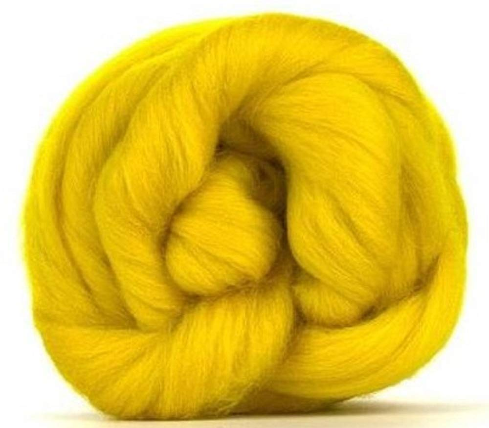 4 oz Paradise Fibers 64 Count Dyed Buttercup (Yellow) Merino Top Spinning Fiber Luxuriously Soft Wool Top Roving for Spinning with Spindle or Wheel, Felting, Blending and Weaving