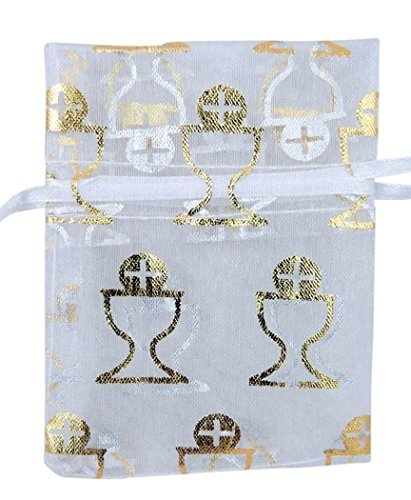 Religious Gifts Gold Host Chalice Design Organza Rosary Bag with Ribbon Drawstring, Pack of 10, 4 Inch ()