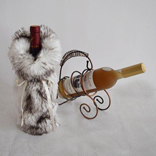 Gireshome Faux Fur Wine Bottle Cover Bag for Table Decorations Gift Bag Christmas Wine Bottle Bag Christmas Hostess Decoration Wine Bottle Cover Christmas Gift