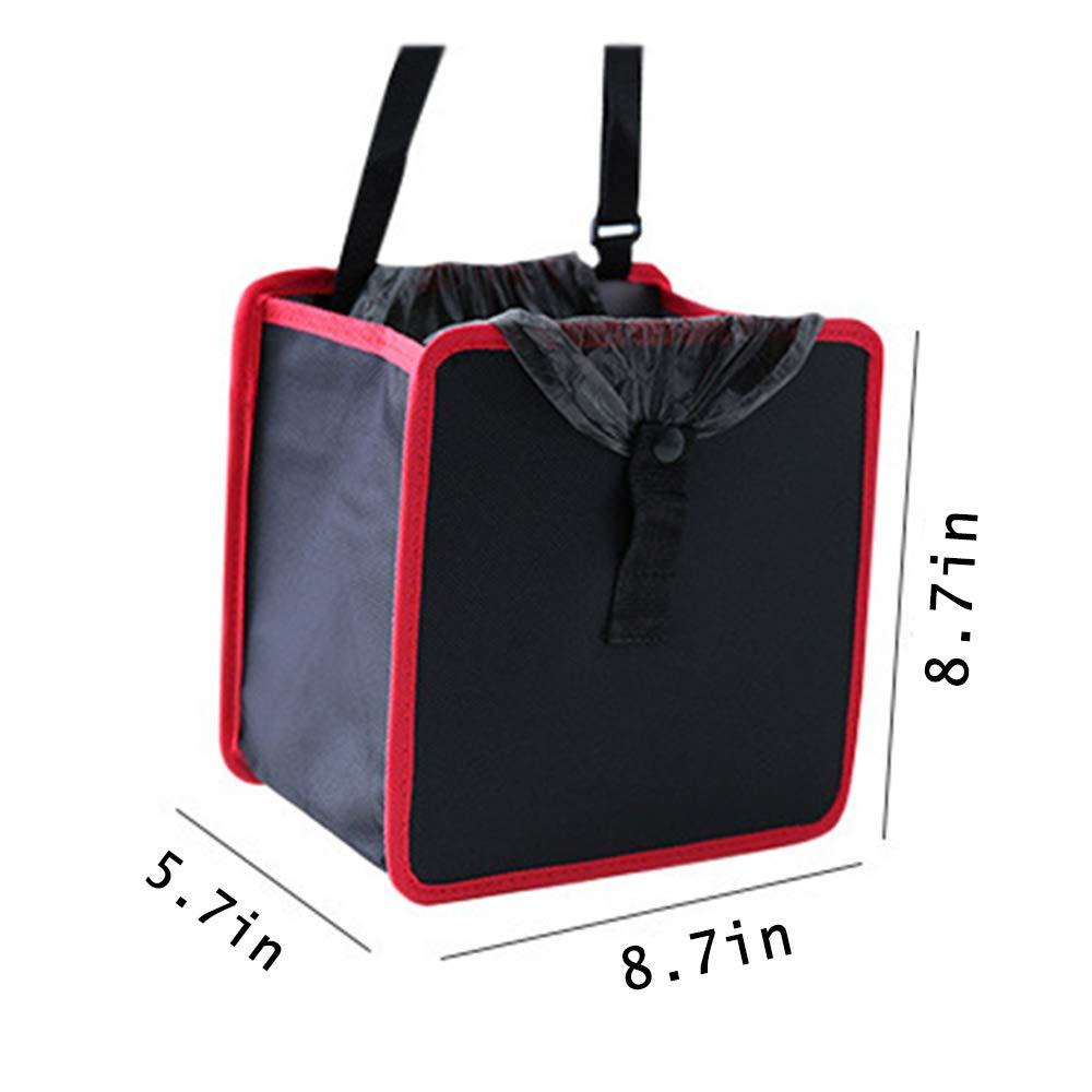 Nero + Rosso Hantier 2 Pezzi Car Trash Can Auto Bin Spazzatura con Cinghia Regolabile e Snap Appeso Car Trash Bag per Impermeabile a Tenuta