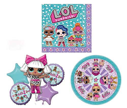 LOL Surprise Doll Party Pack - Includes Plates, Napkins and a 5 piece Balloon -