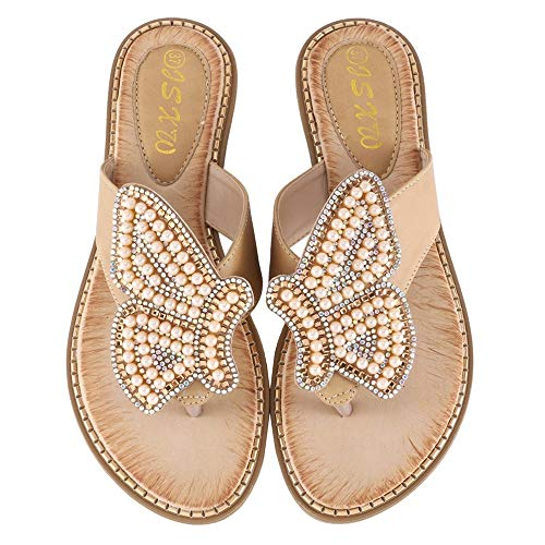 LIM&Shop Women's Bohemian Platform Sandals Rhinestone Bead Wedge Shoes Thong Sandal Bling Crystal Slip-On Bead Flip Flop (Ladies Tennis Shoes Jordans)