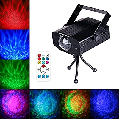 LED Water Ripples Laser Projector Linpote Sound Activated Strobe Stage lighting RGB Disco Dj Party Show lights 7 Color with Wireless Remote Control for KTV Club Bar Birthday Wedding Decoration by Linpote