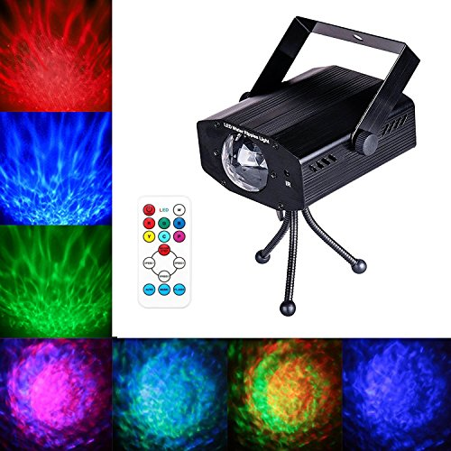 (LED Water Ripples Laser Projector Linpote Sound Activated Strobe Stage lighting RGB Disco Dj Party Show lights 7 Color with Wireless Remote Control for KTV Club Bar Birthday Wedding Decoration)