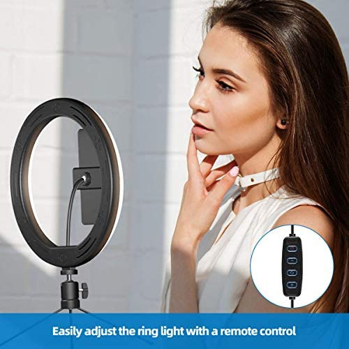 10'' LED Ring Light, Selfie Ring Light with Adjustable Tripod Stand &Phone Holder, Ringlight with 3 Light Modes and 10 Brightness Level, Circle Lights for Makeup/Camera/TikTok/YouTube Video Shooting