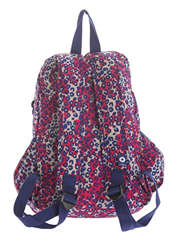 Big Handbag Shop - Bolso mochila  de tela para mujer Backpack Style 2 - Red & Blue