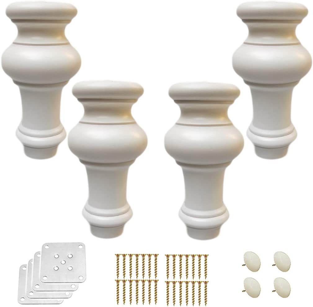 4 round kitchen cabinet legs, solid wood replacement furniture legs, pumpkin shaped sofa feet, sofa/chair/loveseat/ottoman/coffee table/bed/TV/dresser feet, with mounting plates, 6-15