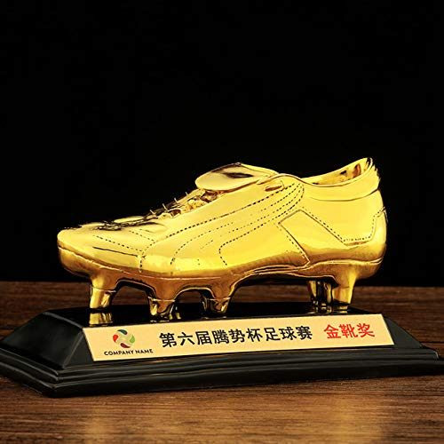 - ZAMTAC Golden Football Boot Champions Le Resin Decoration Customizable Gold Plating Trophy Football Best Shooter Sports Memorabilia - (Color: Gold)