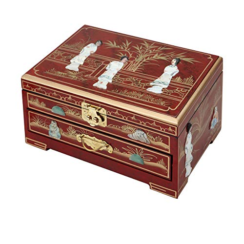 (Surely Oriental Wood Jewelry Box/Case/Storage with Red Lacquer by Hand Painted)