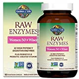 Garden of Life Vegetarian Digestive Supplement for Women 50 & Wiser - Raw Enzymes for Digestion, Bloating, Gas, and IBS, 90 Capsules - Packaging May Vary