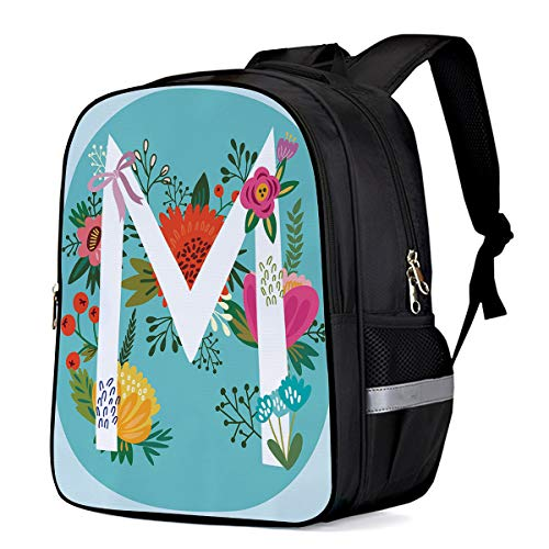 Backpack for Children/Boys/Girls Hand Drawn Flower and Letter M 3D Printing Shool Book Bag Daypacks Satchel Rucksack Hiking Travel Shoulders Bag Fits Laptop- Small
