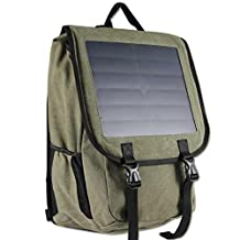 10 Watts Solar Power Backpack, Canvas Material Bag, Solar Power Charger with Voltage Regualte Charging For iPhone, iPad, SAMSUNG, Gopro Cameras etc. 5V Device. (Green)