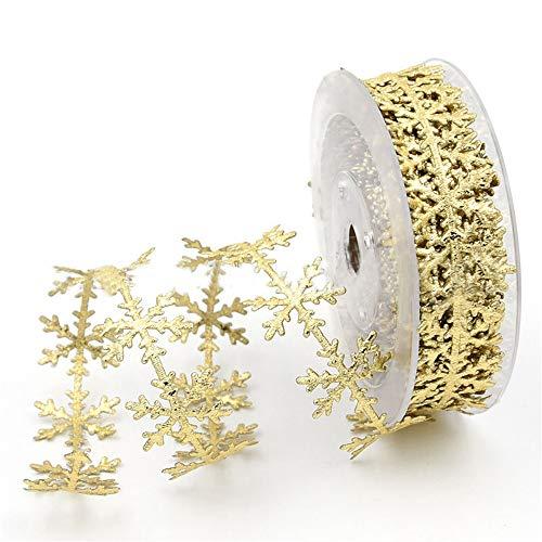 JKJF Golden Glitter Snowflake Ribbon Lace, Golden Sequins Trim Ribbon Christmas Celebration Decoration, Festive Event, Birthday, Wedding Decoration, Embossed Ribbon 0.98 Inch x 10 Meters (Gold)