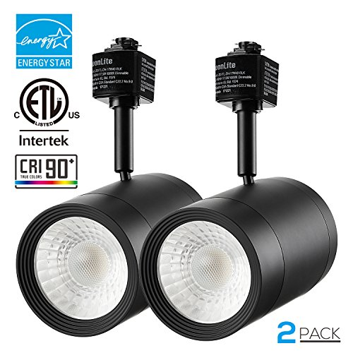 Blk Track - 2 PACK 17.5W (85W Equiv.) Integrated CRI90+ LED Black Track Light Head, Dimmable 38° Spotlight Track Light, 1200lm ENERGY STAR ETL-Listed for Accent Task Wall Art Exhibition Lighting, 4000K Cool White