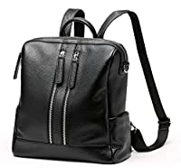 Heshe Black Leather Backpack Casual Daypack for Women and Ladies Mufti-functional Shoulder Bag