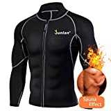 Men Sweat Neoprene Weight Loss Sauna Suit Workout Shirt Body Shaper Fitness Jacket Gym Top Clothes Shapewear Long Sleeve (Black, M) For Sale