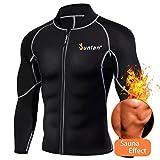 Men Sweat Neoprene Weight Loss Sauna Suit Workout Shirt Body Shaper Fitness Jacket Gym Top Clothes Shapewear Long Sleeve (Black, M)